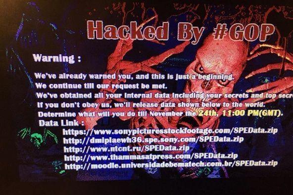 Botschaft auf einem gehacken Sony-Computerbildschirm